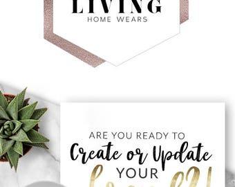 271 - Karma Living, LOGO Premade Logo Design, Brand, Blog Header, Blog Title, Business, Boutique, Geometric, Hexagon, Rose Gold, Geometric