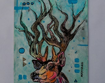 Deer-terminism(original painting); acrylic on canvas, buck with tree limb antlers, deer with rack, great gift for nature & wilderness lovers