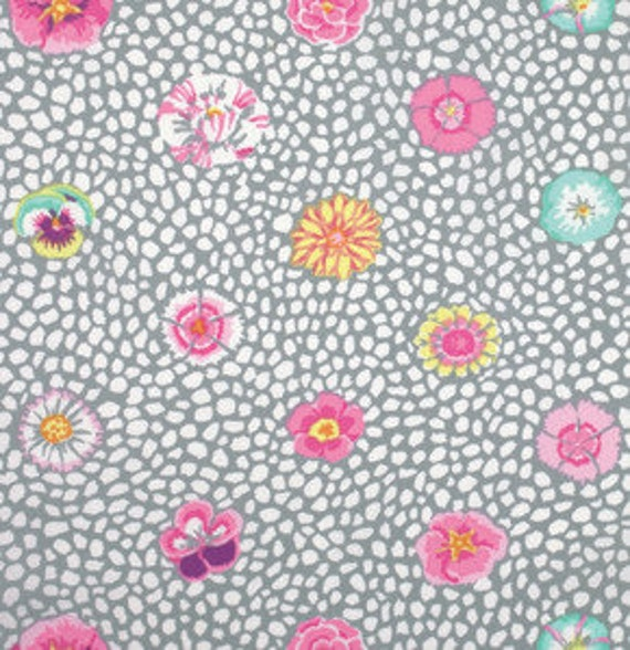 GUINEA FLOWER Grey Kaffe Fassett sold in 1/2 yard increments