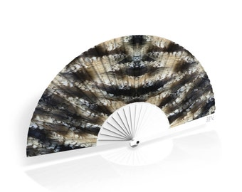 """Khu Khu Hand-Fan / Abanico with """"Wagtail"""" feather print from Flight of Fancy Collection"""