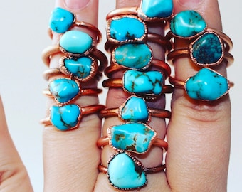 Nevada turquoise ring | Raw turquoise ring | Electroformed turquoise ring | Stacking ring