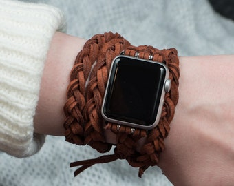 Brown Apple Watch band 38mm 42mm, brown leather men's Apple Watch Band, Apple Watch braided, Gopher