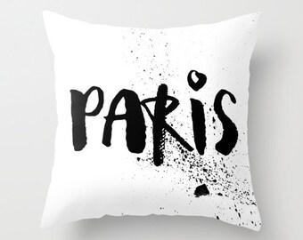 Velveteen Pillow - Paris Pillow - Paris Decor - Black and White Pillow - Modern Decorative Pillow - Paris Cushion Cover - Gifts for Her