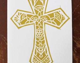 Handprinted Cross Linocut Card