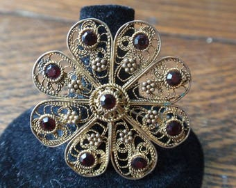 Israel Sterling Filigree Gold Washed Flower Brooch