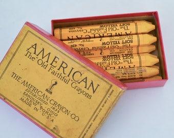 Box of Old Faithful Crayons, Yellow Crayons, Vintage Box of American Crayon Co, Yellowstone