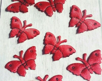 Set of 8 applique has Glue or sew red butterflies