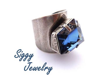 Swarovski Crystal Oversized Statement Ring, Blue, Crystal Sahara, Large Geometric Tilted Dice, Antique Silver, Gift Packaging