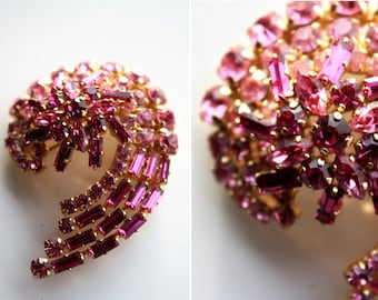 Vintage Shades of Pink Crystal Abstract Shape Brooch