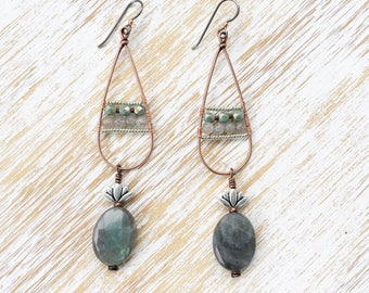Labradorite Earrings, Long Earrings, Lotus Earrings, Boho Earrings, Hypoallergenic Earrings, Niobium Earrings, Copper Earrings, Boho Chic