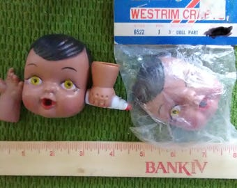 Vintage Doll Face and Hands with Bottle - Baby with Brown Ethnic Skin - Black Hair Yellow Eyes - help rescued cats