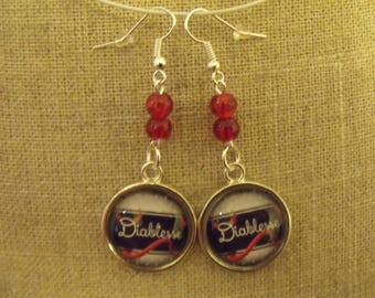 SALE earrings beads Red Devil glass cabochon
