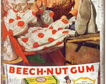 "Beech Nut Gum Circus Clown Vintage Print Ad 10"" X 7"" Reproduction Metal Sign N74"