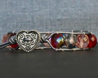 valentine jewlery - heart bracelet - red pink purple crystal on silver leather wrap bracelet - bohemian gypsy  glam