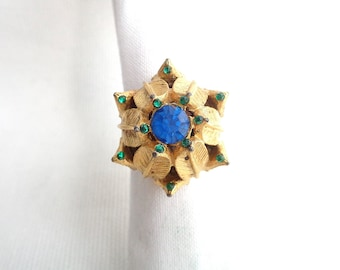 High Mount Blue and Green Rhinestone & Gold Leaf Setting Vintage Ring - Adjustable Band - Estate Jewelry