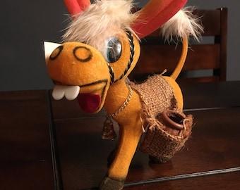 Vintage felt donkey toothpick holder