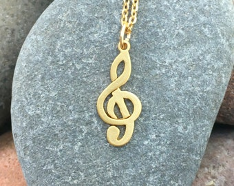 Gold Treble Clef Necklace, Music Note Necklace, Gold G Clef Charm, Gift for Music Lovers, Clef Symbol Necklace, Musical Symbol Necklace
