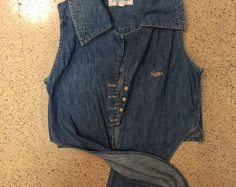 """Vintage GUESS Denim """"Made in USA"""" Cropped Tie-Waist Collar Shirt"""