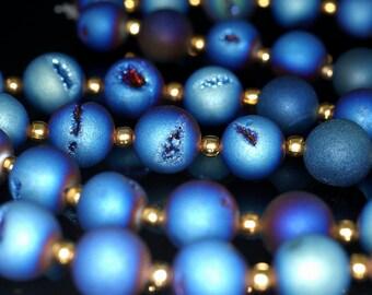 12MM Titanium Blue Agate Druzy Gemstone Grade AA Round Loose Beads 12 Bedas (90190899-B55)