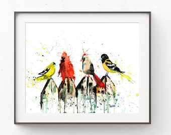 Wall Art, Cardinal Art, Gift For Bird Lovers, Watercolor Painting, Gold Finch Print, Baltimore Oriole Painting, Female Cardinal Artwork