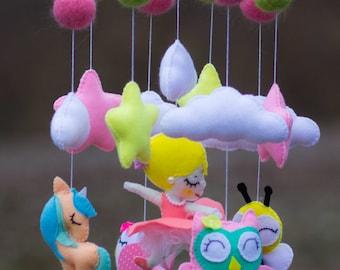 Baby mobile Baby Crib Mobile, Felt Mobile, star cloud mobile,Baby mobile,  unicorn mobile, Ballerina mobile owl mobile  bee mobile