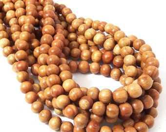 Narra Wood, 8mm-9mm, Golden Brown, Round, Smooth, Natural Wood Beads, Small, Full 16 Inch Strand, 50pcs - ID 1654-LT