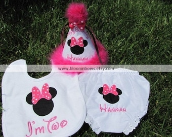 Minnie Mouse Birthday Set.  Includes Boutique Birthday Hat, Bloomers, and Bib.  Personalize and choose the colors.