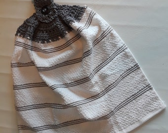White Hanging Towel with Gray Top