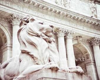 New York City Print Public Library photo New York Library print Library photo Lion photo NYC art Public library Print Architecture Photo