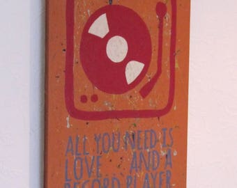 All you need is love, hand painted wall art.
