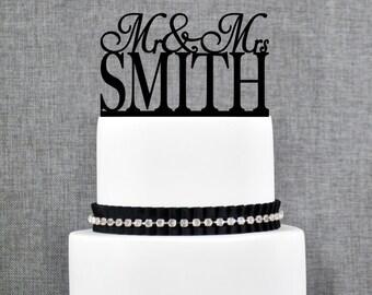 Last Name Wedding Cake Topper, Custom Name Cake Topper, Topper For Wedding, Engagement Cake Topper, Modern Wedding Cake Topper (T005)