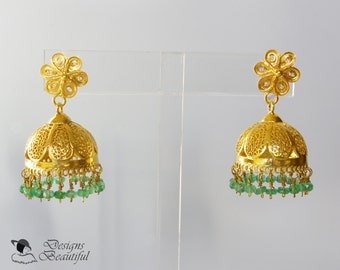 22k Gold Vermeil Filigree Domes with Emeralds Hanging from 22k Gold Vermeil Filigree Flower Posts, 1.5 inches