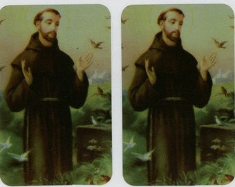 16 Shiny Metallic St Francis of Assisi Stickers (1 page of 16 Stickers)     F-EE