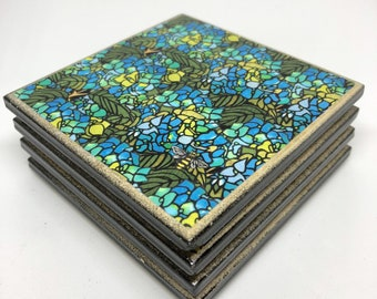 4 Ceramic Art Coasters - BLUE HYDRANGEAS
