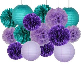 16pcs Mermaid Party Decoration Teal Lavender Purple Tissue Paper Pom Poms Paper Lanterns Honeycomb Balls Wedding Baby Shower Decoration