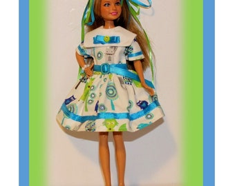 """Grandma's Heirloom Collection """"Woodland Fun"""" Dress with Snap, Belt, Ribbons & Bracelet. Handmade from a Vintage Skipper Clothes Pattern."""