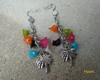 Earrings long Palm tree, lucite flowers colorful wedding