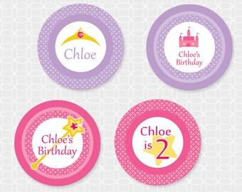 Princess Party Circles - Personalized Printable - royal, pink, purple