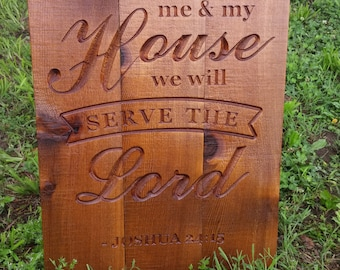 As for me and my house we will Serve the Lord Sign CNC Carved Sign Western Cedar Home Decor