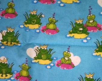 Blue Frog Flannel fabric