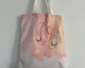 Hand painted tote bag pink and ecru dance