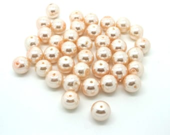 40 Pearly pink old glass 10mm round beads
