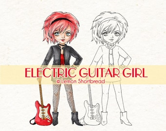 Digital Stamp Electric Guitar Girl, Digi Download, Rock Star Band, Punk Fashion, Music, Coloring Page, Scrapbooking Supplies, Clip Art