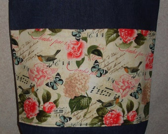 New Large Handmade Bird Butterfly Flower Rose Garden Denim Tote Bag