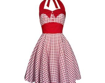 Summer Dress Red Gingham Dress Sun Dress Rockabilly Dress Pin up Dress Retro Goth Dress Psychobilly Dress Steampunk Clothing Plus Size Dress