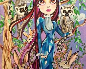 Strange Company Fantasy Big Eye Art Print by Leslie Mehl