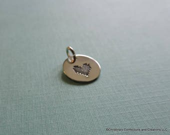 Plaid patterned Heart  Stamped Charm or Necklace in Sterling Silver Brass or Copper (#1736)