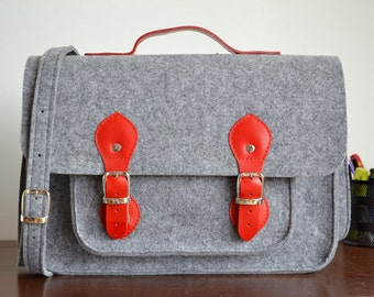 MESSENGER LEATHER BAG – Messenger Laptop Bag - Messenger Bags - 15-inch Laptop Bag - Felt Crossbody Bag - Felt Satchel