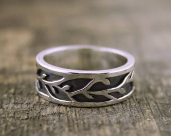 Organic Vine Flow ring, his wedding band, leaf ring, forest jewelry, boho wedding, organic wedding band, groom ring, elvin jewelry