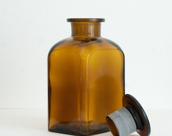 500 ml (16.9 fl oz) Amber Apothecary Jar, Square Czech Glass